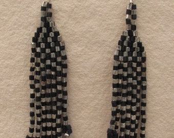 Harlequin Gold & Black Fringe Earrings