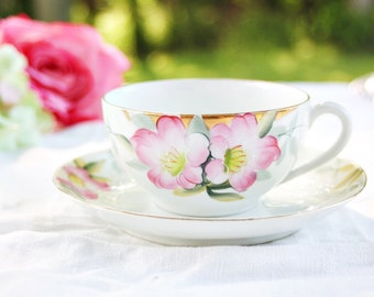 Vintage Noritake Azalea Teacup - Pink Floral Teacup, Hand Painted Teacup, Pretty Teacup, Japanese Teacup, Floral Teacup, Vintage Teacup