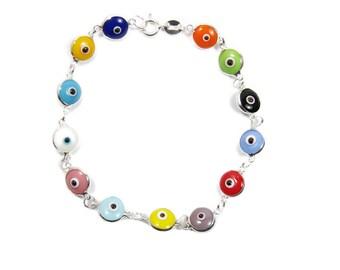 Evil eye Bracelet Beaded Multicolor Sterling Silver Bracelet. Lucky eye bracelet