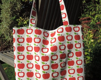 Tote Bag, Cotton Tote Bag, Cotton Shopping Bag - Apples. Handmade