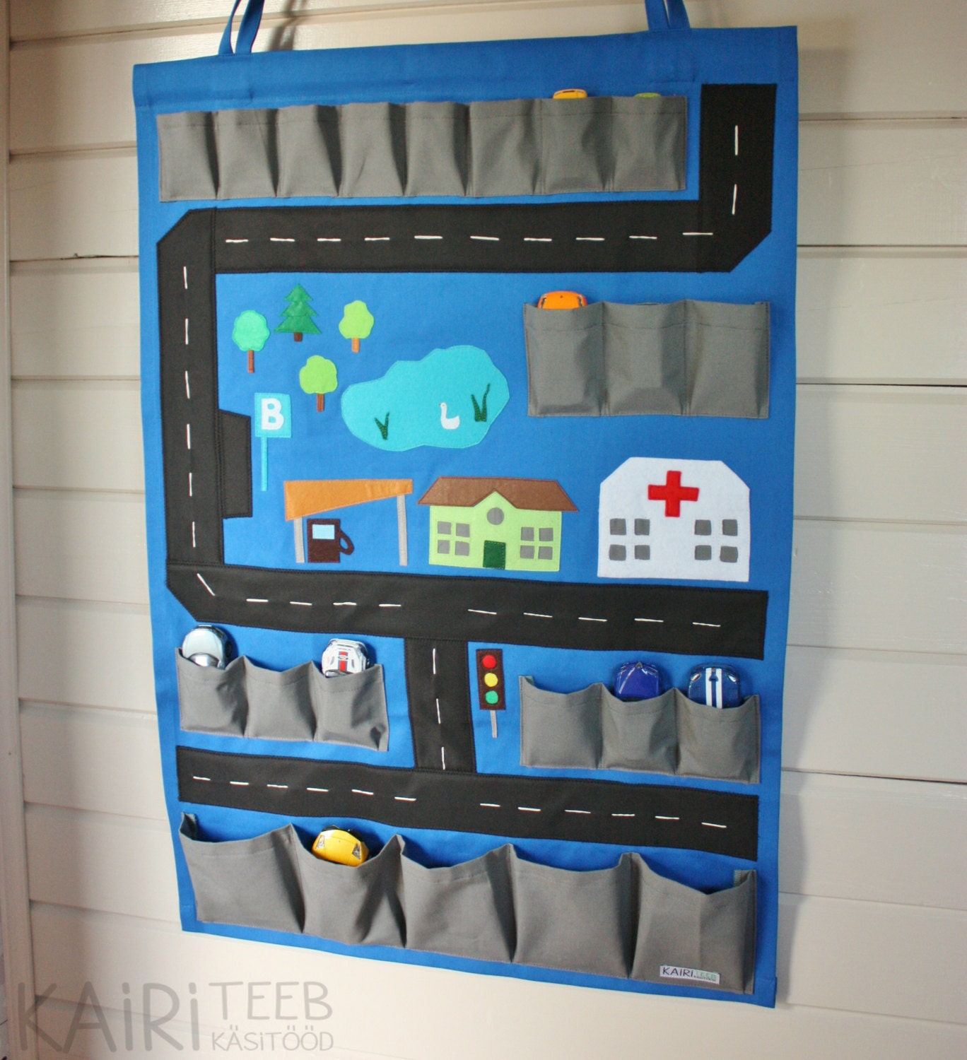 Car Toy Organizer : Toy car storage and playmat in hanging wall by kairiteeb