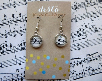 Musical Clefs Glass Dome Earrings