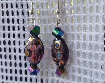 Purple spotted glass bead drop earrings