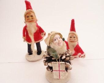 Pinecone Santa, Santa Trio, Chenille Santas, Paper Mache,