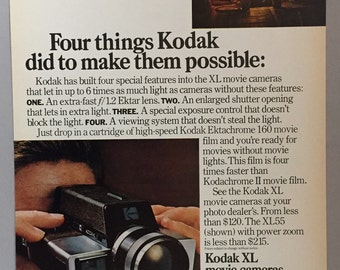 "1972 Kodak XL Movie Camera Print Ad - ""Movies without movie lights"""