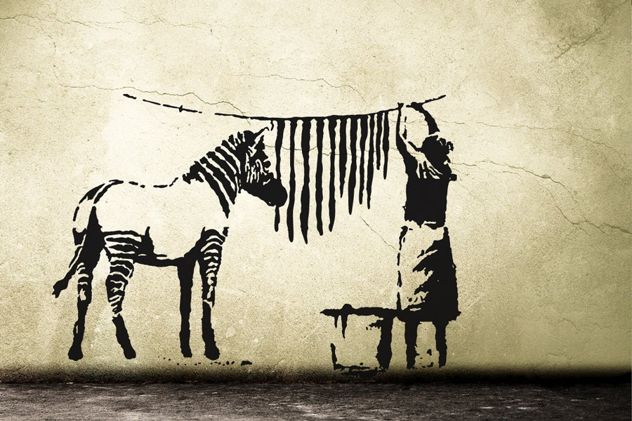 banksy wandtattoo zebra waschstation wandsticker streetart. Black Bedroom Furniture Sets. Home Design Ideas