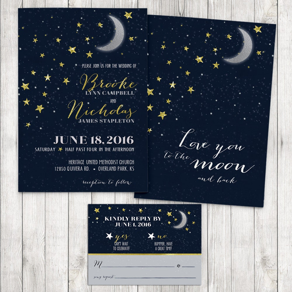 Love You To The Moon And Back Wedding Invitation Moon And
