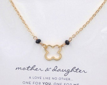 Gold Clover Bohemian Boho Necklace w/ MOTHER & DAUGHTER Card