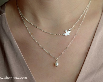 Pearl Dove Necklace Set / Sterling Silver, Rose Gold / Delicate Necklace / Layering Necklace / Bird Necklace / Soaring Dove / Soaring Bird