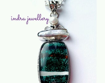 dichroic glass pendant, dichroic glass necklace, fused glass jewelry, vibrant green glass pendant