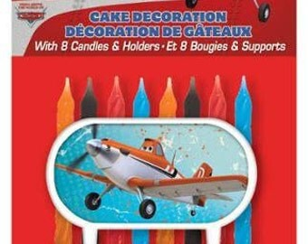 Disney Planes Cake Decoration With 8 Birthday Candles & Holders