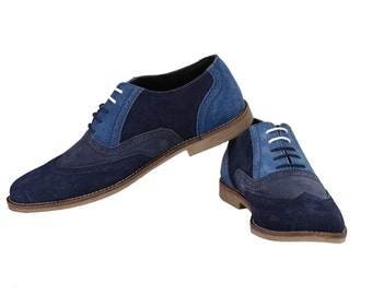 Mens Tri Suede Colour Oxford Blue Brogues | Jacksin Shoes