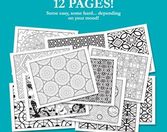 12 Page Printable Coloring Book Geometric patterns modern design butterflies flowers mandalas pdf jpeg easy hard medium home printable fun