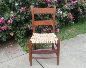 Antique Wooden Chair with Woven Oak Seat 1800s Hand Rewoven Farmhouse Primitive