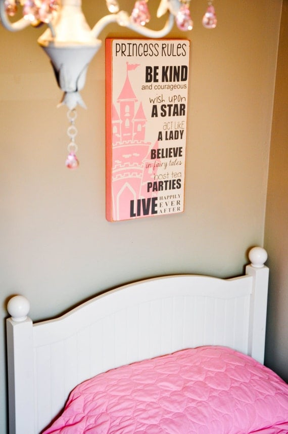 Room decor for girls little girl 39 s bedroom sign by thewallpoet for Signs for little girl rooms
