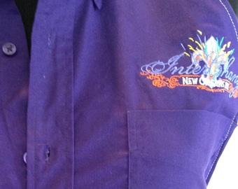 Full Apron repurposed deep purple shirt white stitching - New Orleans 2012