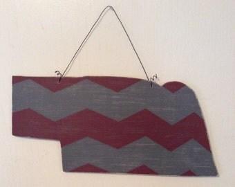 Nebraska Door Hanger; Hand Painted Door Hanger; Decorative Nebraska Door Hanger; Chevron Nebraska; Nebraska