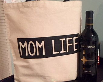 Tote Bag, Mom Life tote, organic cotton canvas tote bag, Mother's Day