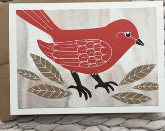 Handmade Red Bird Card