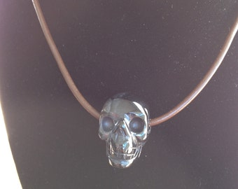 Black Obsidian Skull Necklace