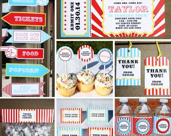 Carnival Party - Invitation & Decorations Kit - Printable Circus Birthday Party Package - Instant Download - Editable Text