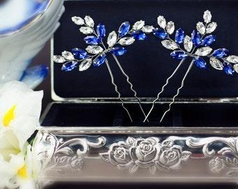Something blue hair pins Bridal hairpin Royal blue Rhinestone hair pin Navy blue crystal hair pins Crystal bobby pin Blue wedding hair pins