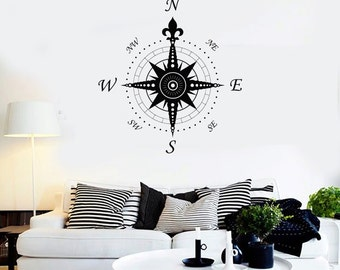 Wall Vinyl Decal Compass Nautical Ornament Marine Science Traveling Cool Abstract Modern Beach Home Decor (#1119di)