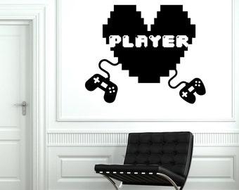 Wall Decal Gaming Joystick Joypad Gamepad Player Gamer Vinyl Decal Sticker 1806dz