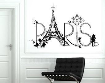 Wall Decal Paris Eiffel Tower France Romantic Love Vinyl Decal Sticker 1811dz