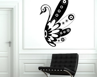 Decal Swan Bird Black And White Ornament Tribal Mural Vinyl Decal Sticker 1881dz