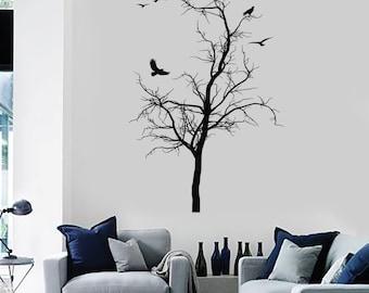 Wall Vinyl Decal Tree Branch Birds Nature Romantic Decor 2305di