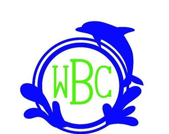 Dolphin Monogram Decal (Royal Blue and Lime Green)
