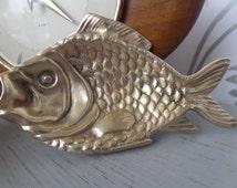 "Brass Fish Ashtray Trinket Tray 5.5"" x 3"" 300g Midcentury 1960's Handmade English"