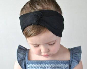 Turban Headband, Black, Baby Headwrap, Baby Turban, Child's Turban, Adult Turban Headband