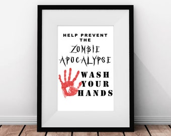 Items similar to collage print wash your hands only for Zombie bathroom decor