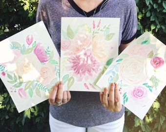 Handmade Floral Watercolor Painting Set 8x10