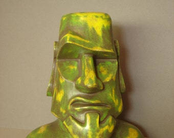 Easter Island Sculpture - Moai Sculpture, Tiki Sculpture, Polynesian Pop Sculpture, Kitsch, Modern Primitive, Bust,