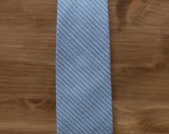 men's necktie - light teal cotton with beige stripe