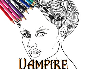 Halloween Vampire Girl Adult Coloring Page and Digital Stamp