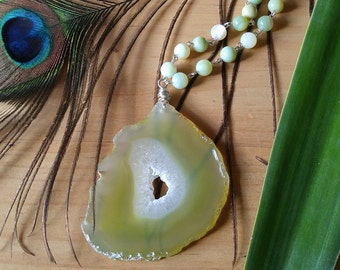 Sterling silver handwired agate necklace