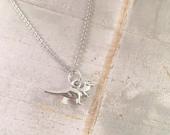 Dinosaur necklace, charm necklace, small tyrannosaurus necklace, dinosaur jewelry, For Mom of boys, fashion necklace, unique gift
