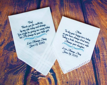Personalized Wedding Hankerchiefs - Set of 2 - For Parents - Wedding Gift For Mother Of Bride - Embroidered Handkerchief For Mom