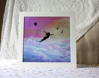 Let go and Fly Giclee Art Print on Textured Paper.