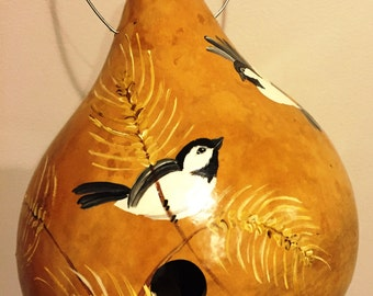 Handpainted Gourd Birdhouse with Wrens and Wheat