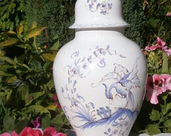 french Vintage vase in Moustiers signed Studio Aulagnet-Baratta earthenware urn vase