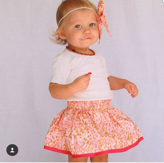 """gold and coral skirt- pink metallic gold """"Glitzy"""" baby skirt toddler skirt"""