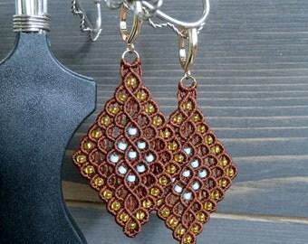 Brown beaded rhombus micro macrame earrings| Handmade jewelry| Gifts for women| Geometric lightweight dangle earrings| Silver ear wires|