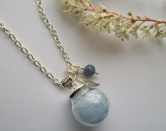 Sweet Angel - Baby blue feather inside a glass orb, with angel wing and gemstone. Necklace