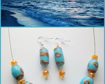 Ocean Sunset ~ Blue and orange ceramic jewellery set. Necklace and earrings