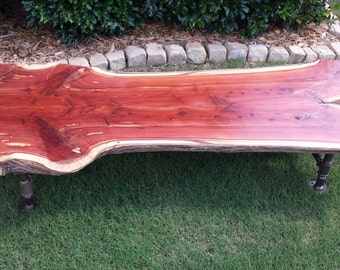Cedar slab coffee table